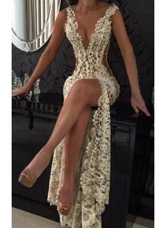 2018 sexy sheer lace prom dresses deep v neck front slit