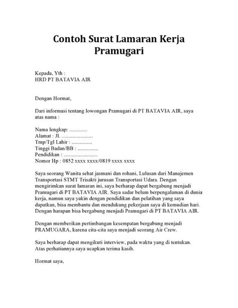 Contoh Application Letter Format Writing And Editing Services Contoh Application Letter Vacancy