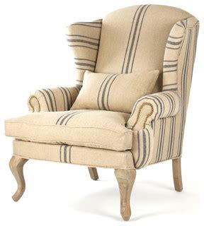 blue white striped armchair zacharie khaki linen wing chair with blue stripe