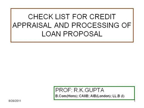 Credit Card Processing Rfp Template Check List For Credit Appraisal And Process Notes Authorstream