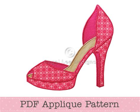 high heel shoe applique pattern fancy shoes template instant