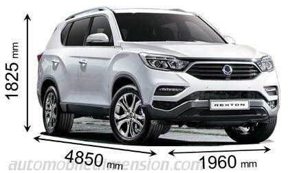dimensions  ssangyong cars showing length width  height