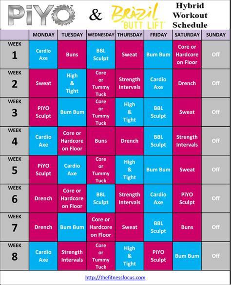 Brazil Lift Calendar Piyo Hybrid Workout Schedules And Calendar Downloads