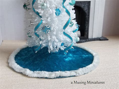 velvet christmas tree skirt ice blue in 1 12 scale for