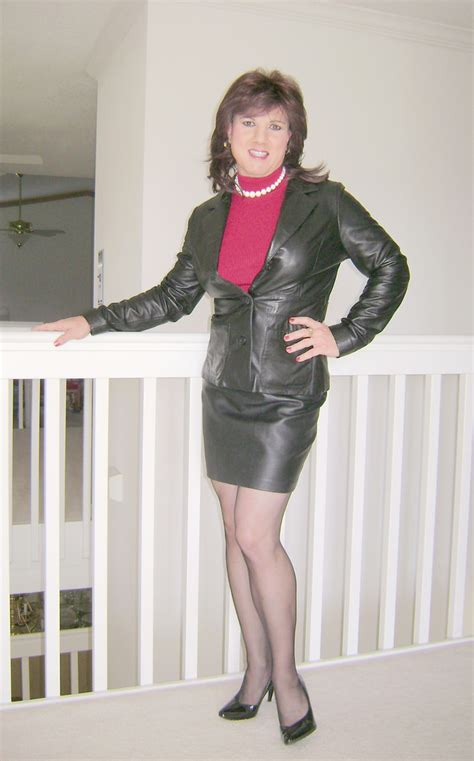 black leather skirt and leather jacket jackie