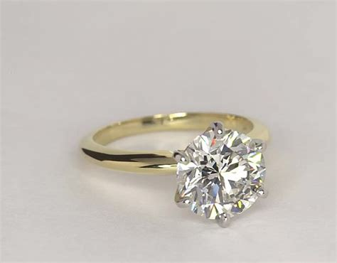Solitaire Engagement Ring In 18k Yellow Gold Blue by Classic Six Prong Solitaire Engagement Ring In 18k Yellow