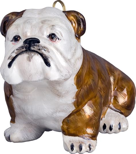 bulldog dog ornament brown and white