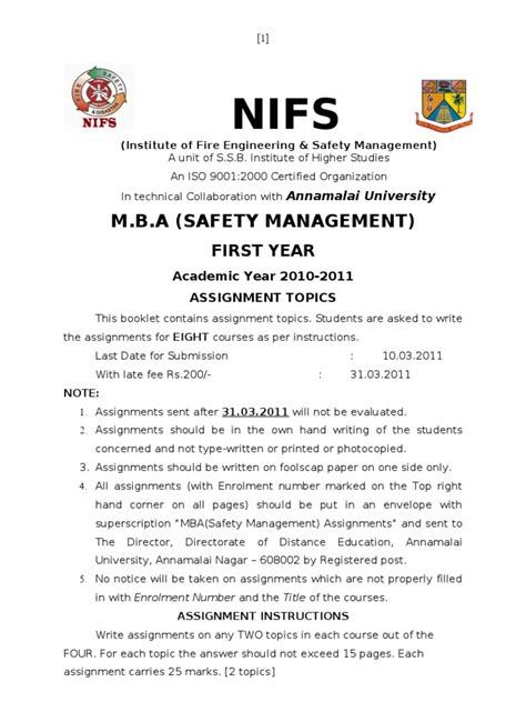 Mba In Safety Management Distance Learning by Mba Safety Management I Assignment 2010 2011 Safety