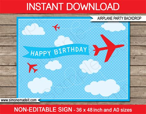 Printable Airplane Party Backdrop Sign Party Decorations Airplane Birthday Invitation Template