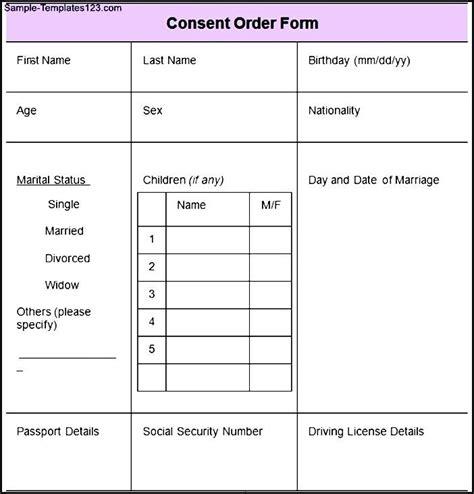 consent order form sle consent order form sle templates sle