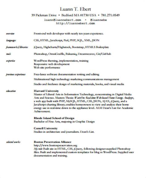 Front End Developer Resume by 7 Sle Front End Developer Resumes Sle Templates