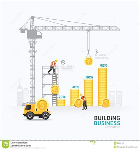 Building A Business Template infographic business money graph template design stock