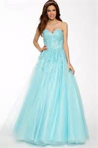 High Neck Wedding Dresses Classy A Line Strapless Sweetheart Light Blue Tulle Lace Long Prom Dress