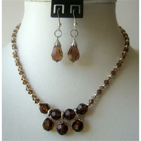 Handcrafted Custom Jewelry - handmade smoked topaz crystals teardrop necklace set