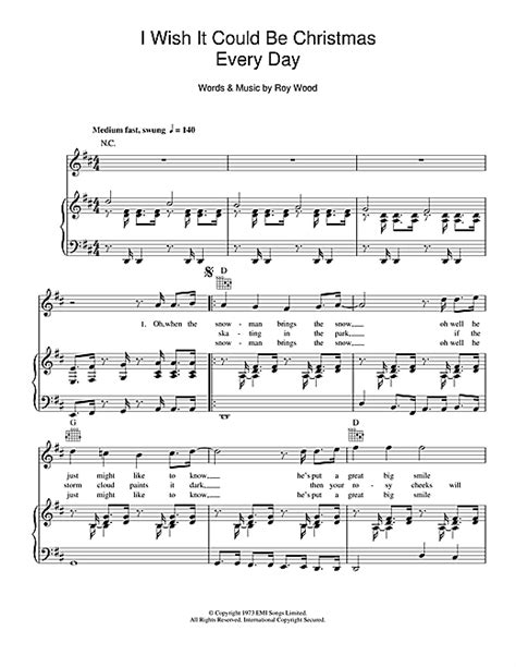 wish song with name wizzard i wish it could be every day sheet