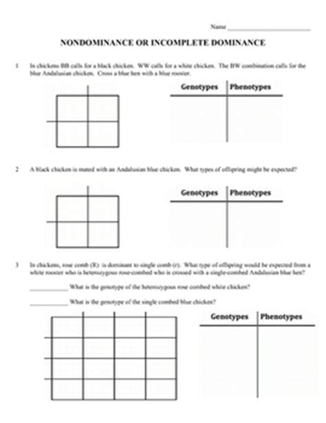 Punnett Square Problems Worksheet by Genetics Practice Problems Worksheet Incomplete Dominance