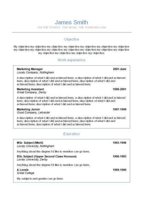 Cv Template On Helvetica Word Cv Template How To Write A Cv