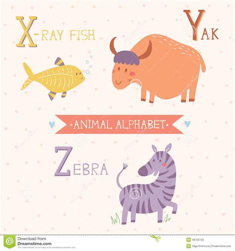 animal alphabet  ray fish yak zebra part  stock