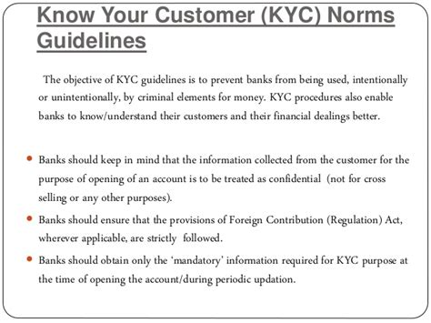 kyc requirements for banks rbi guidelines for banks