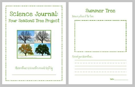 printable science journal kindergarten science journal four seasons tree project