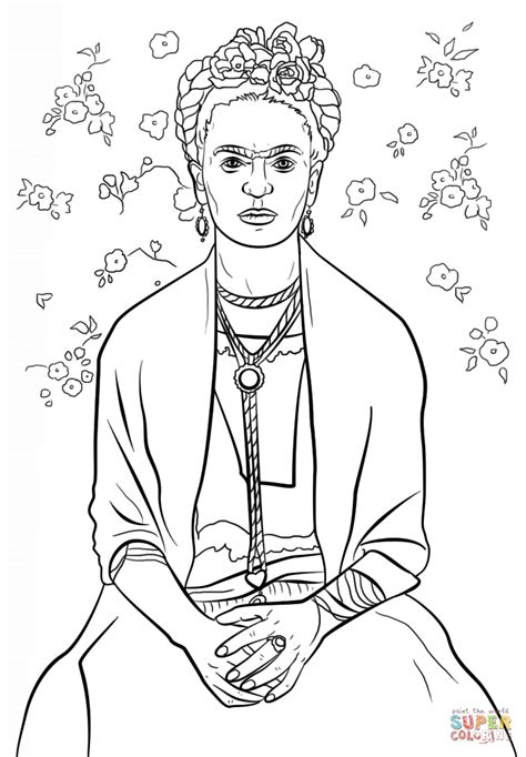 frida kahlo coloring page free printable coloring pages