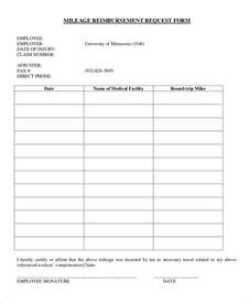 reimbursement form template mileage reimbursement form 9 free sle exle