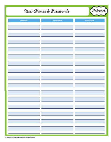 password list printable template 9 best images of printable username and password template
