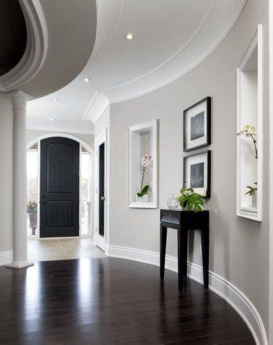 gray walls white trim hardwood floors black