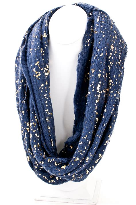 infinity scarf gold fragment detailed knit infinity scarf scarves