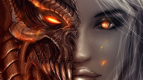 wallpaper anime demon women face eyes fantasy art angel demon