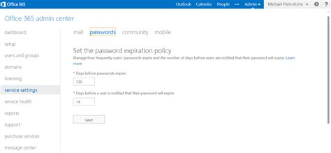 set office 365 password expiration policy to never expire