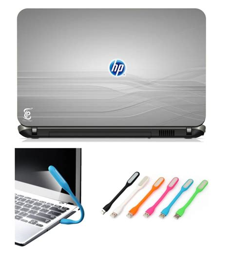 light blue hp laptop print shapes hp blue logo usb led light with laptop skin