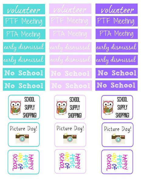 printable school planner stickers back to school planner stickers home management binder