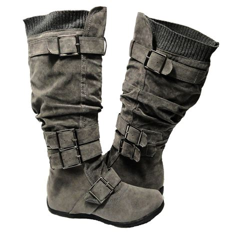 womens knee high adjustable straps suede flat boots