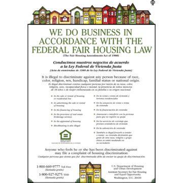 printable fair housing poster fair housing framed statement 18 x 24 hd supply