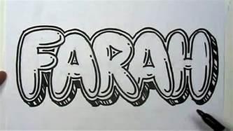draw graffiti letters write farah bubble letters mat