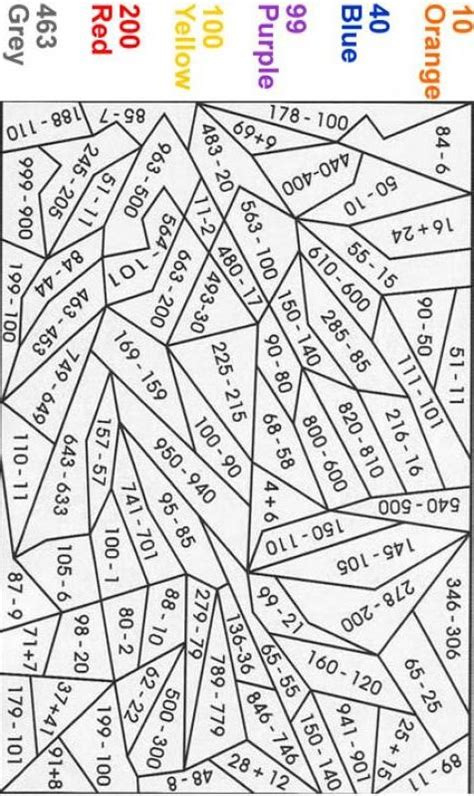 math number coloring pages math color by number this could be altered for different