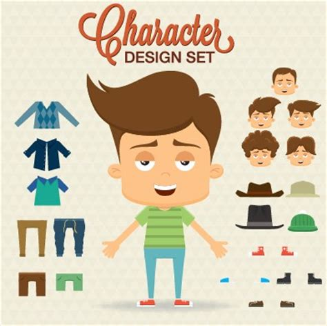cartoon character with elements vector – over millions
