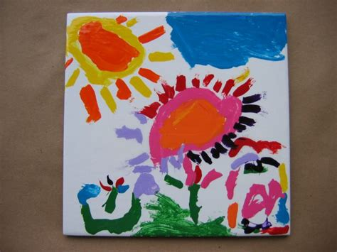 painting on ceramic tile craft beautiful ceramic tile painted by preschool age child