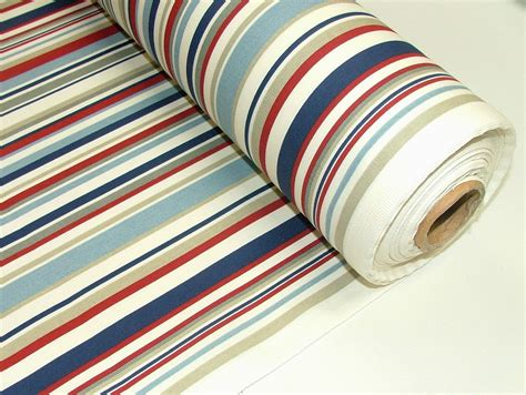 coastal curtain fabric nautical red blue ticking stripe cotton curtain upholstery
