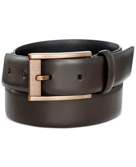 calvin klein 32mm leather belt in brown for chocolate