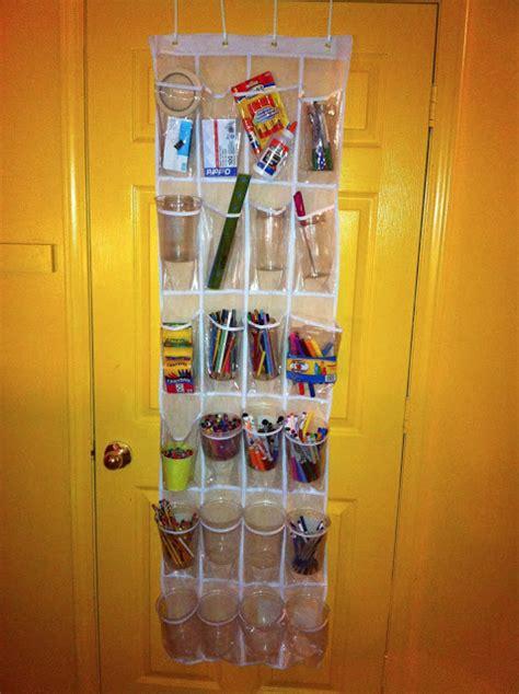 The Door School Supply Organizer by Storing School Supplies In The Door Shoe Organizers