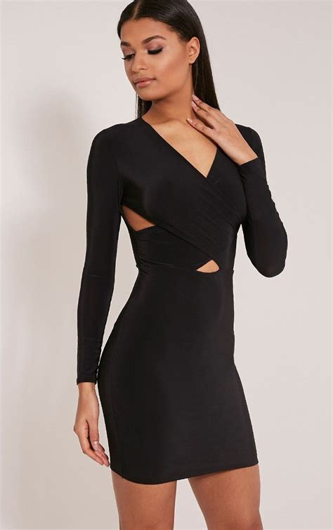Dress Tamaya tamaya black sleeve cross front bodycon dress