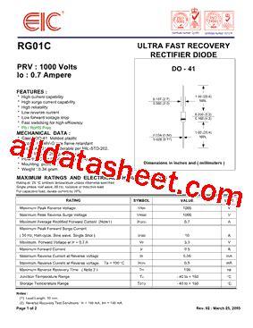 eic rectifier diodes rg1c datasheet pdf eic discrete semiconductors