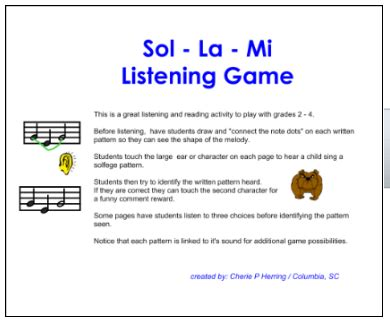pattern games for the smartboard sol mi listening game smartboard lesson 183 just a little more