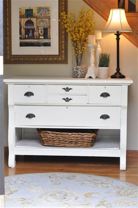 white entry table entryway inspiration birch and lace
