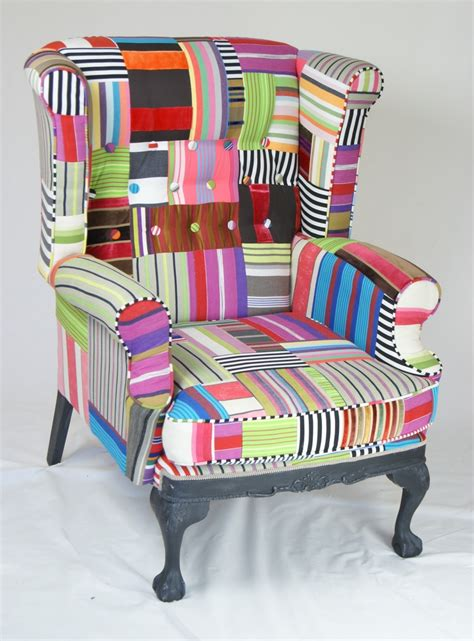 Patchwork Wing Chair - patchwork wingback chair chair collection
