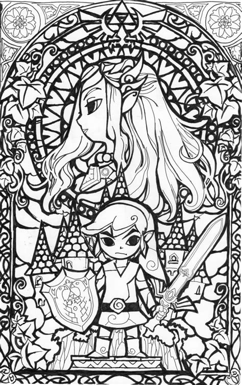 printable zentangle legend awesome stained glass zelda coloring page gonna try this