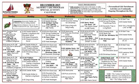 december 2015 activity calendars