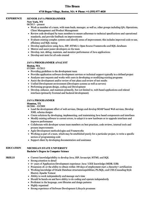 java programmer resume format java programmer resume sles velvet
